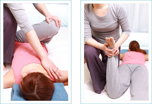 Woman receiving thai massage.
